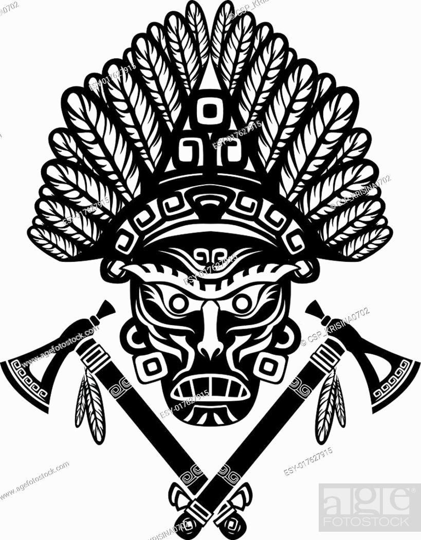 Stock Vector: American Indian mask.
