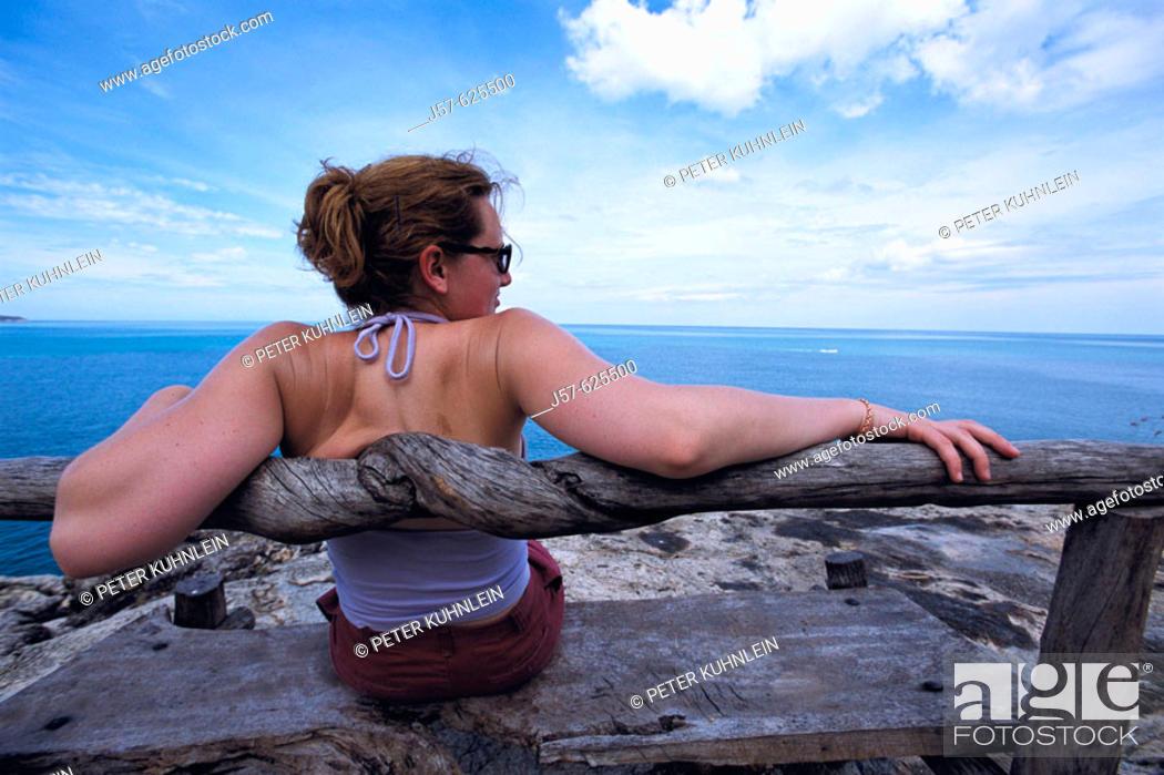 Stock Photo: Woman looking at sea. Ko Samui. Thailand.