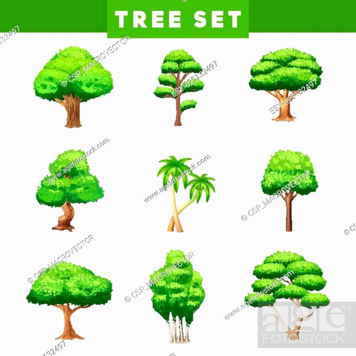 Stock Vector: Tree Crowns Flat Icons Set.