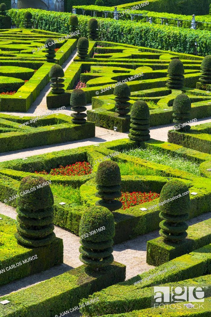 Stock Photo: French Gardens, Ecological gardening, Villandry Castle, Villandry, Indre-et-Loire Department, The Loire Valley, France, Europe.