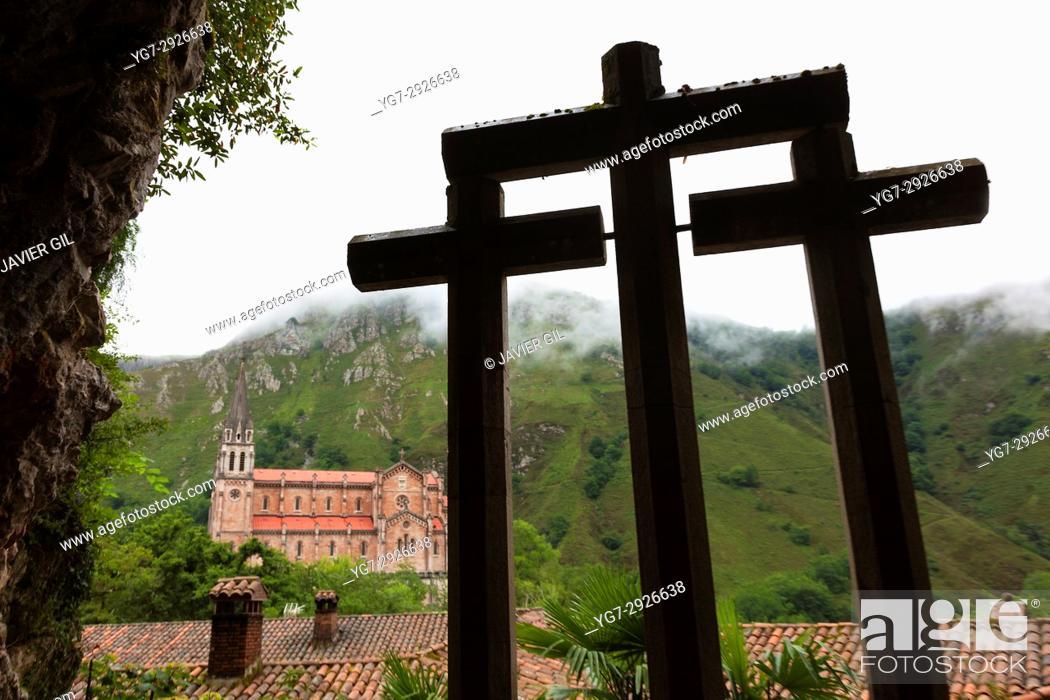 Stock Photo: Basilica of Our Lady of Covadonga, Asturias, Spain.