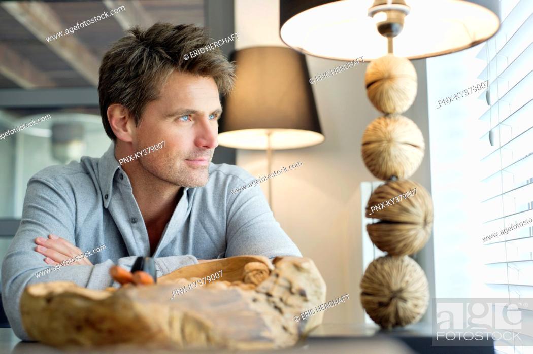 Stock Photo: Close-up of a man thinking.