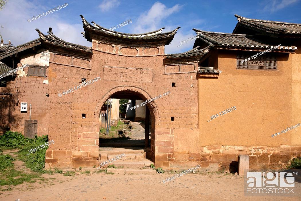 Stock Photo: Gateway, Shaxi, Jianchuan County, Yunnan, China.
