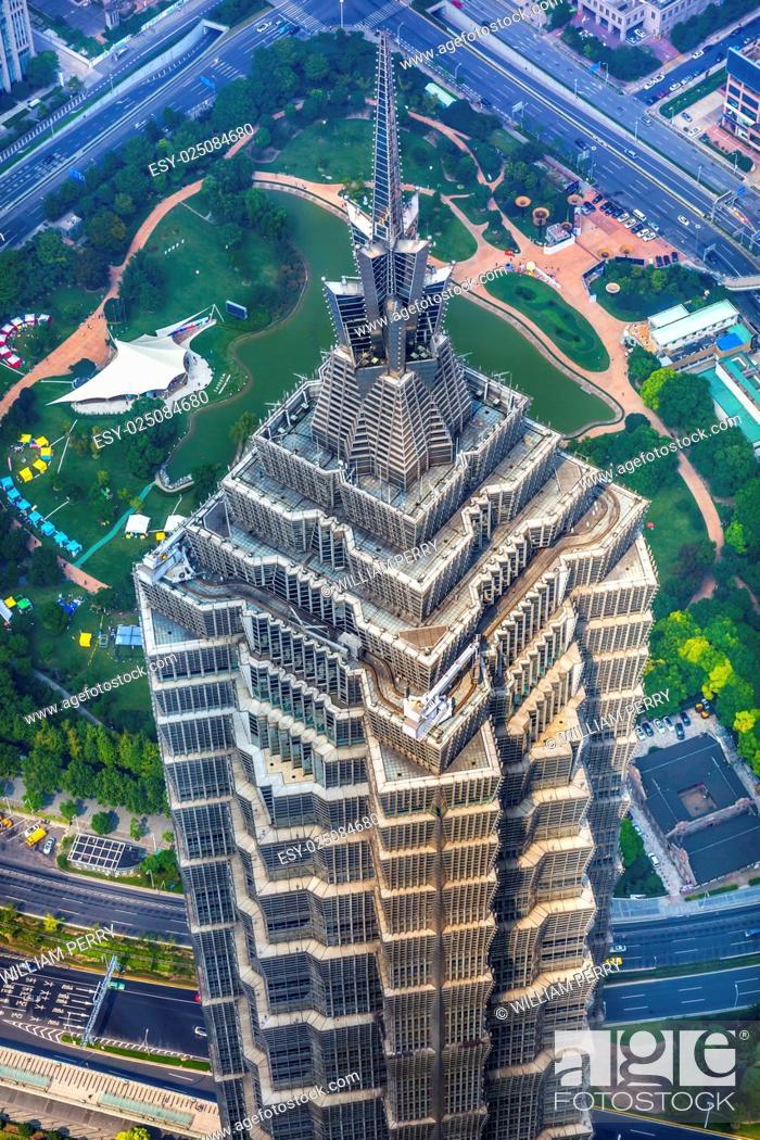 Stock Photo: Jin Mao Tower Skyscraper Close Up Patterns and Designs Liujiashui Financial District Shanghai China.