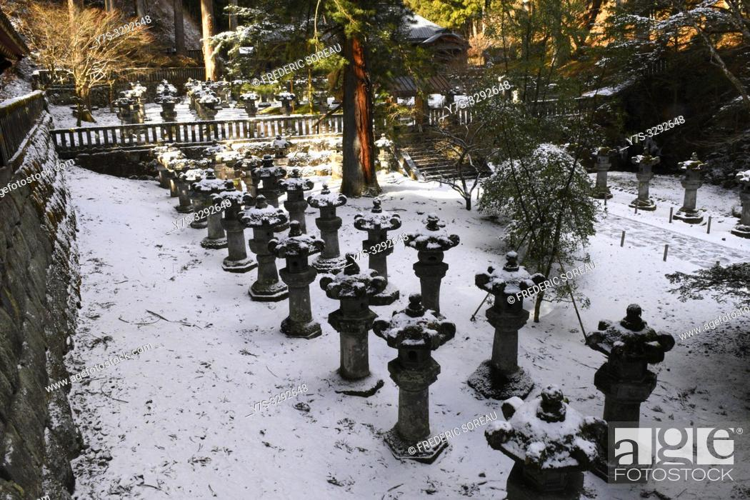 Stock Photo: Stone lanterns of Futarasan Shrine in winter, Nikko, Japan, Asia.