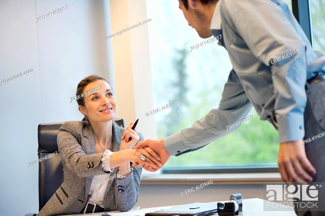 Stock Photo: Business executive shaking hands with her client.