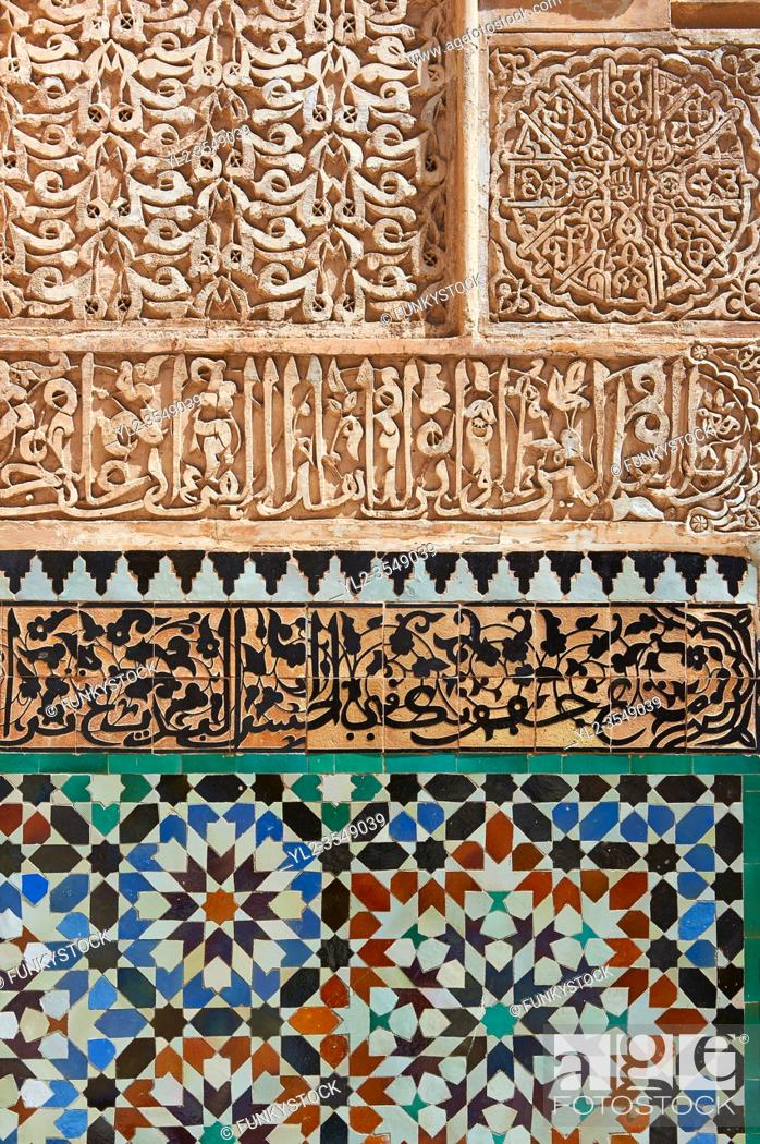 Photo de stock: Berber arabesque Morcabe plasterwork and Zellige tiles of the 14th century Ben Youssef Madersa (Islamic college) re-constructed by the Saadian Sultan Abdallah.