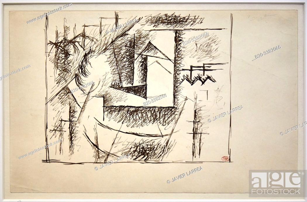 """Stock Photo: """"Paysage de Céret"""", 1911, Pablo Picasso, Picasso Museum, Paris, France, Europe."""