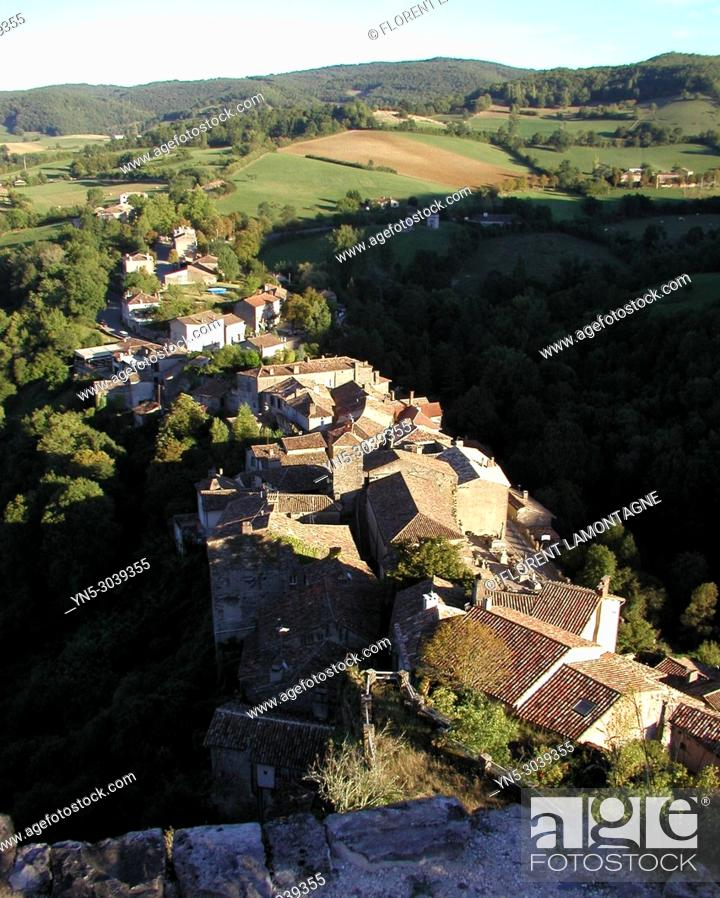 Stock Photo: View on the village of Penne le chateau from the castle, in Tarn department, in region of Occitanie, France.