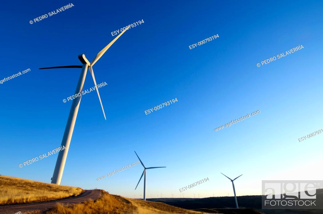 Stock Photo: sunset view of modern windmills on a hill in Soria province, Castilla- Leon, Spain.
