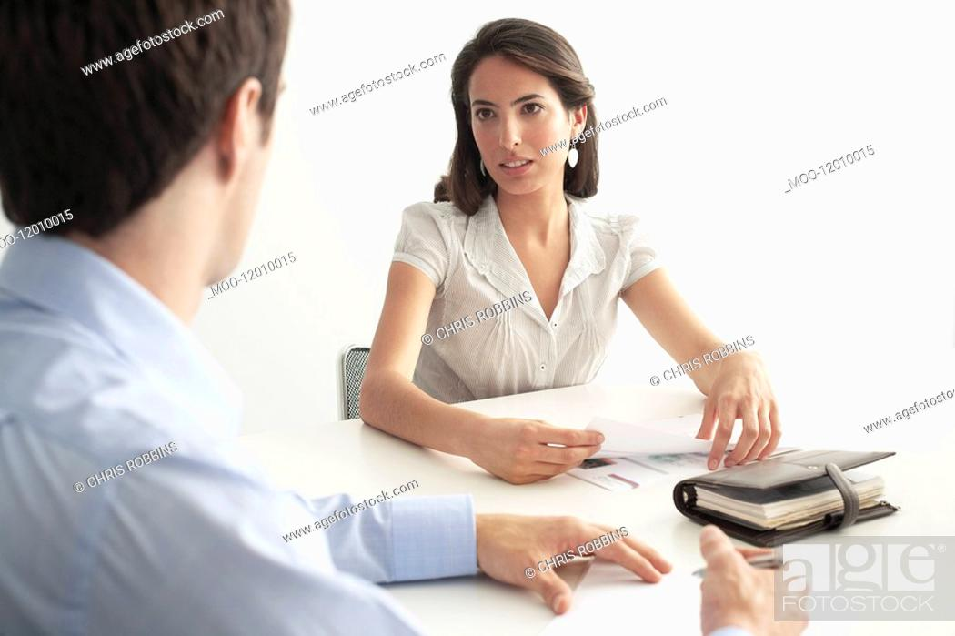 Stock Photo: Business man and woman in meeting.