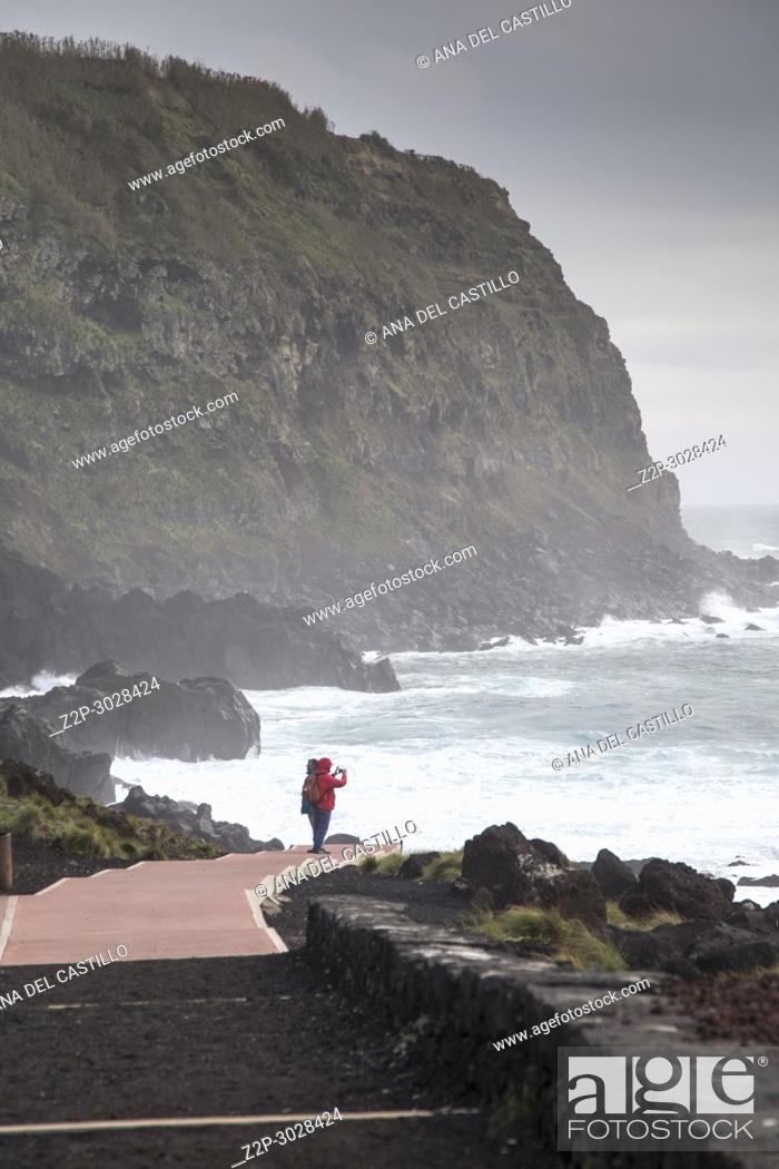 Stock Photo: Storm over Termas de Ferraria in Sao Miguel island. Azores, Portugal.