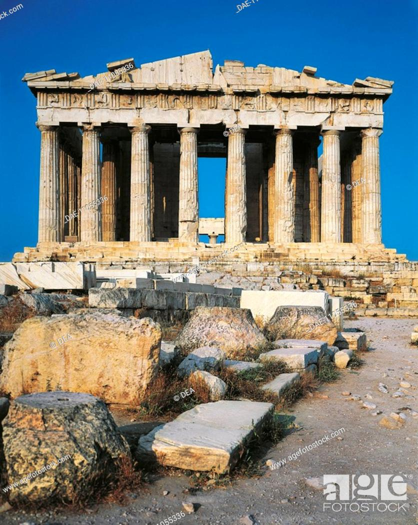 Stock Photo: Greece - Attica - Acropolis of Athens (UNESCO World Heritage List, 1987), Parthenon, 5th century b.C. Western front.