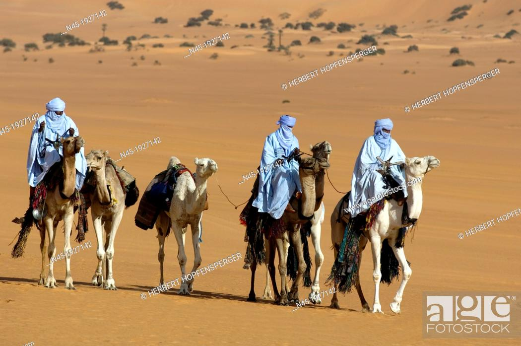 Stock Photo: Tuaregs riding Camels; Tuareg Caravan; Libyan Arab Jamahiriya; Libyan Desert.