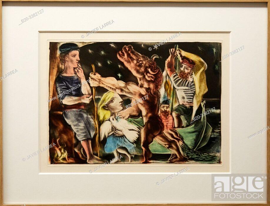 """Stock Photo: """"Minotaure aveugle guidé par Marie.Thérèse au pigeon dans une nuit étoilée"""", 1935, Pablo Picasso, Picasso Museum, Paris, France, Europe."""