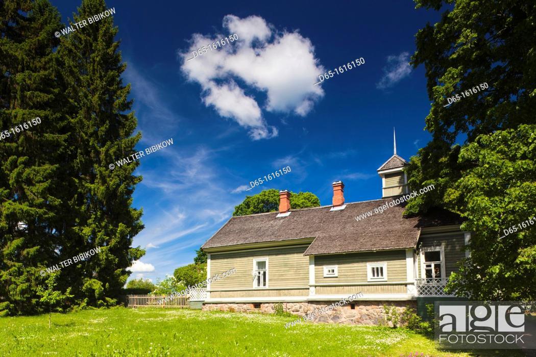 Stock Photo: Russia, Pskovskaya Oblast, Pushkinskie Gory, estate building at Mikhailovskoye, the Alexander Pushkin Preserve, estate of famous Russian poet.