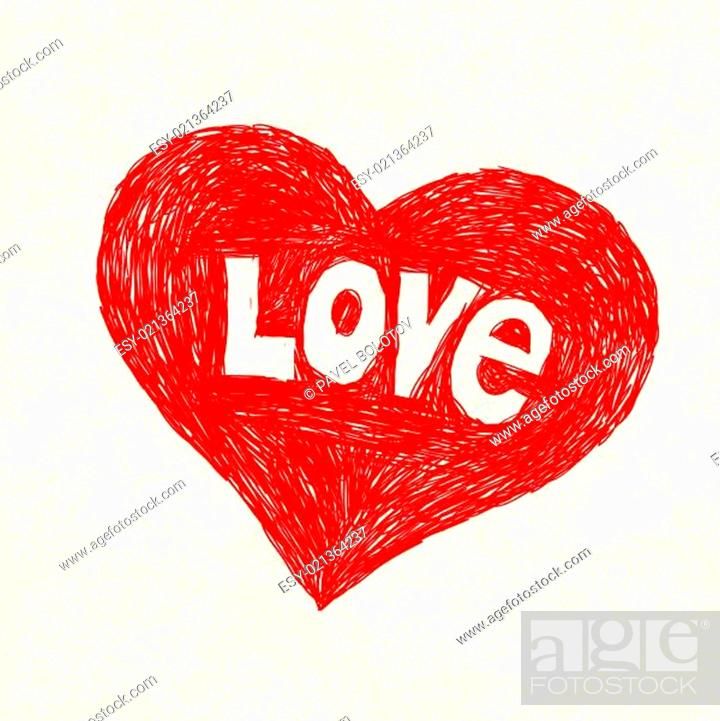 Stock Photo: Heart symbol with love word on old paper. Vector illustration, E.