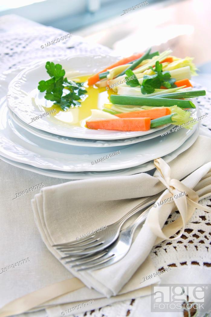 Stock Photo: Preparation and presentation of mixed vegetables for garnish.