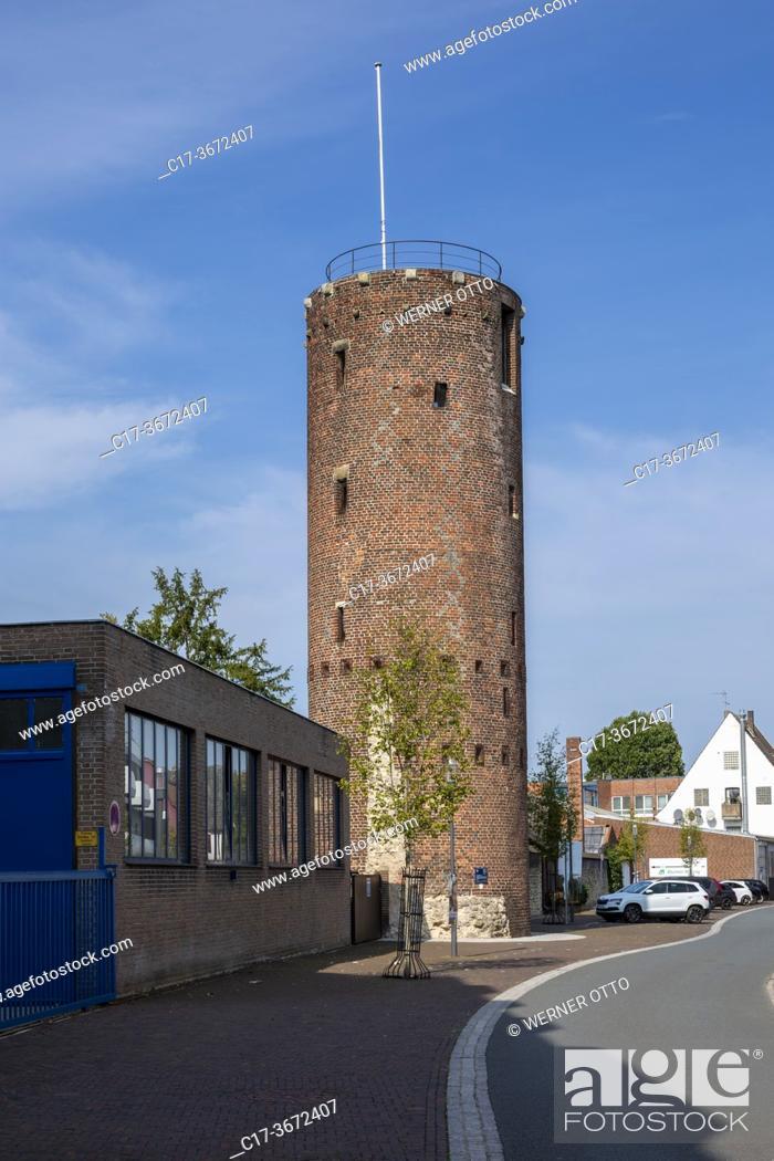 Imagen: Borken, D-Borken, Hohe Mark Westmuensterland Nature Park, Muensterland, Westphalia, North Rhine-Westphalia, NRW, Windmill Tower, defence tower, brick building.