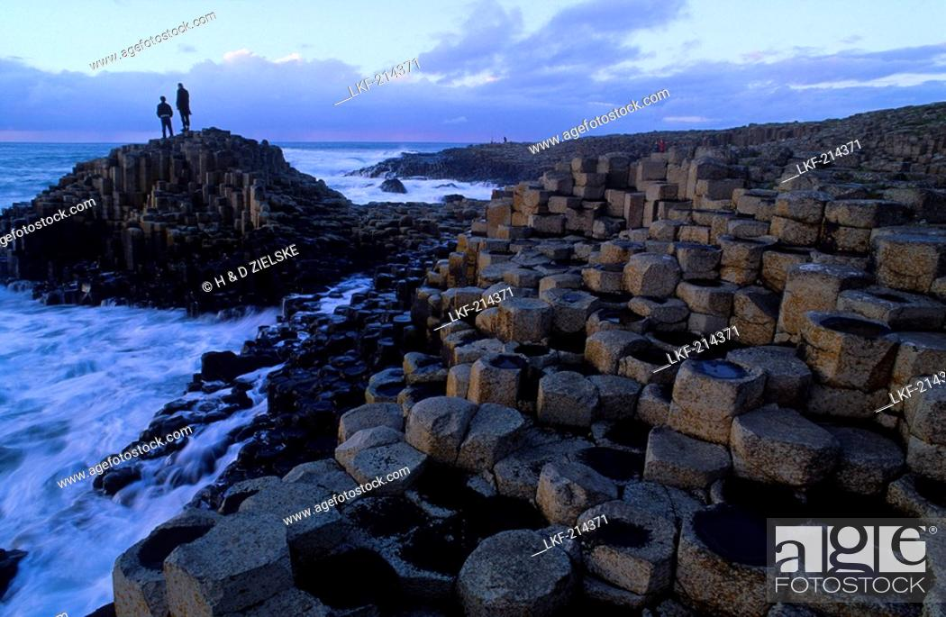 Stock Photo: Giant's Causeway, Basalt Columns at the coastline, County Antrim, Ireland, Europe.