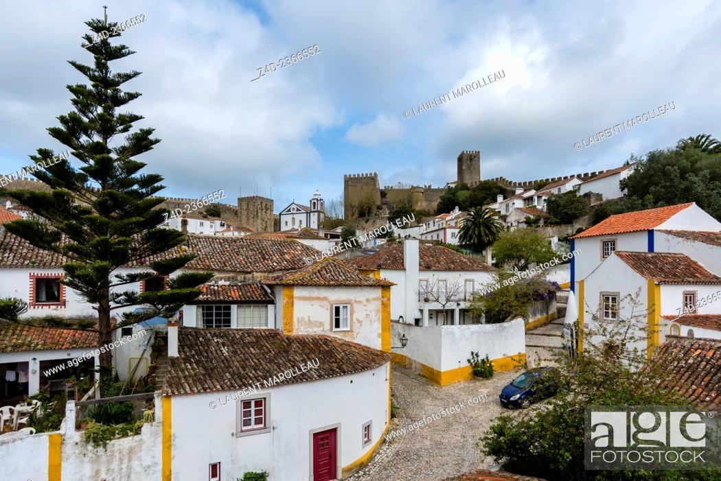 Stock Photo: Obidos from the Castle Battlements. Obidos, Leiria District, Portugal, Europe.