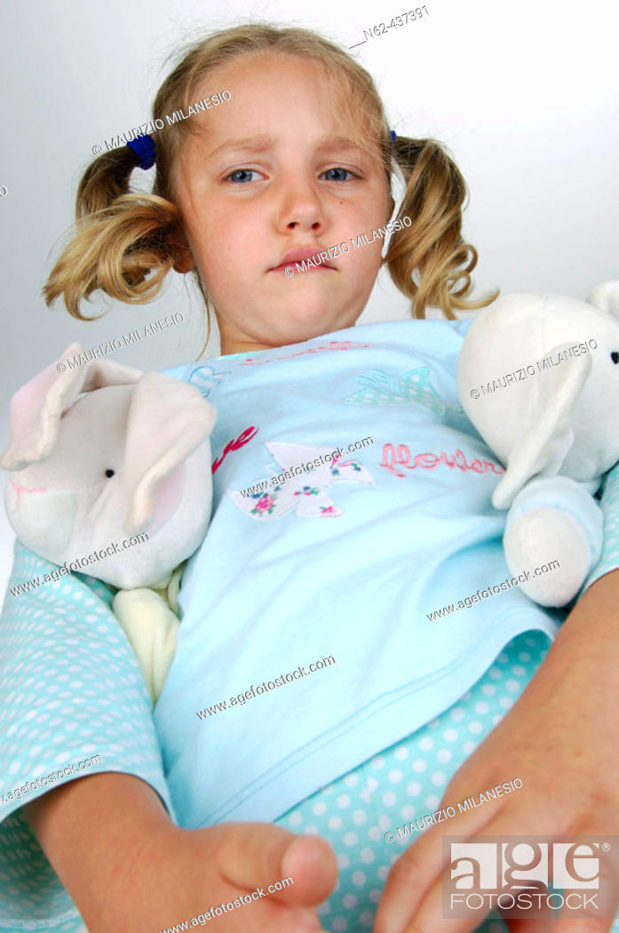 Sad Little Girl With Pigtails Bottom View Has Puppet Under The Arms, Stock Photo -5405