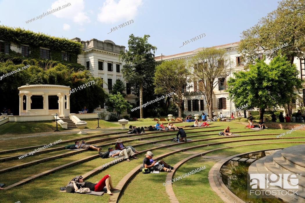 "Stock Photo: """"""Nepal, City of Kathmandu, the garden of dreams or Kaiser cafe settled in Bir Sjb Rana palace""."