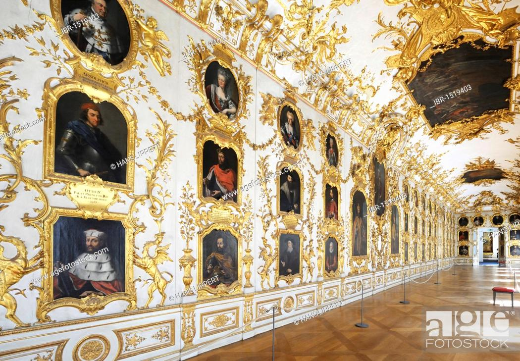Stock Photo: Ancestral gallery, Muenchner Residenz royal palace, home of the Wittelsbach regents until 1918, Munich, Bavaria, Germany, Europe.