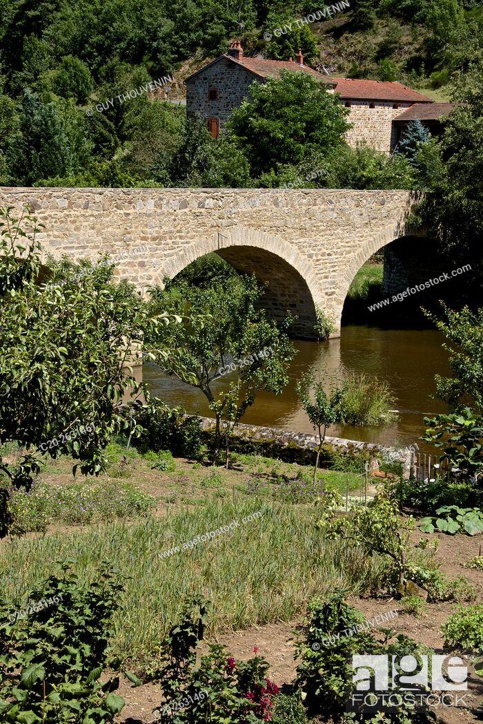 Stock Photo: Gardens along the Senouire river, at Lavaudieu, medieval village, 43, Auvergne, Haute Loire, France.