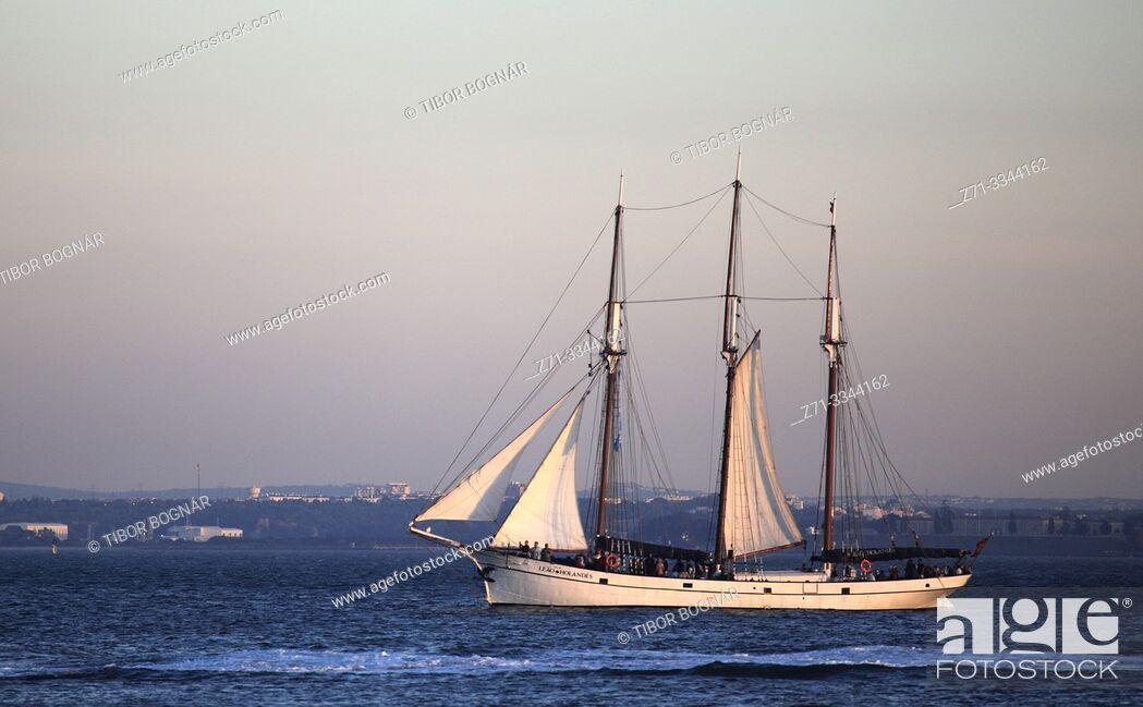 Stock Photo: Portugal, Lisbon, Tagus River, sailing ship,.