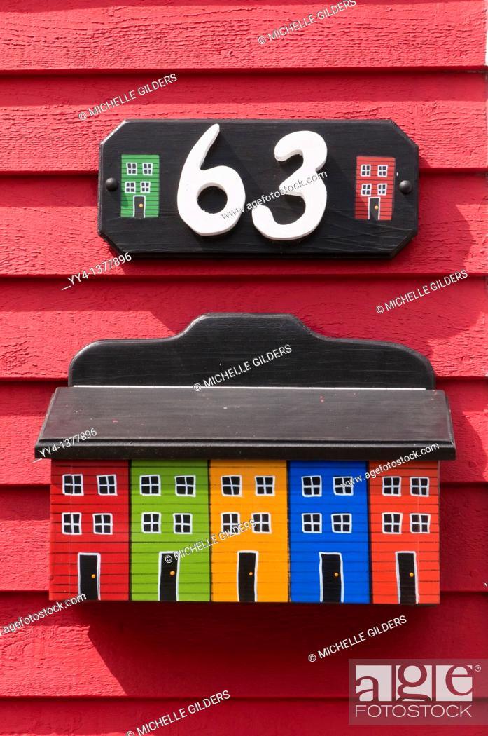 Stock Photo: Mailbox, jelly-bean jelly bean row houses, Signal Hill Road, St  John's, Newfoundland, Canada.