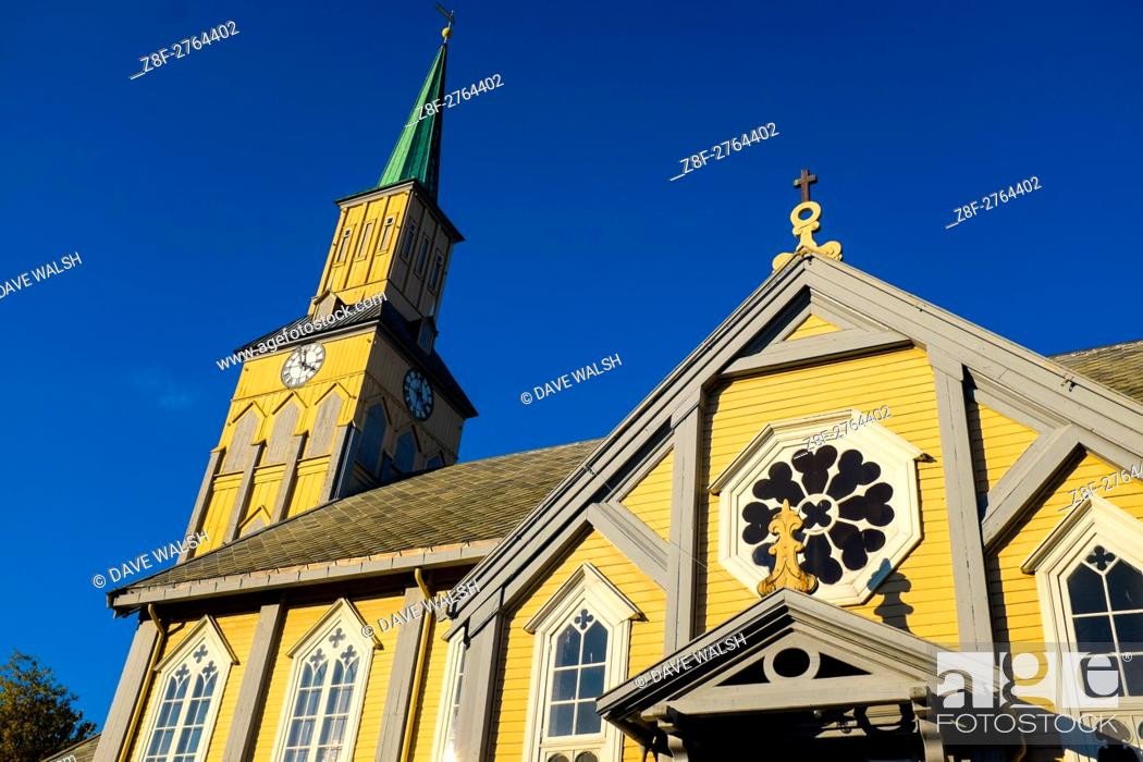 Stock Photo: Tromso Domkirke, the only wooden cathedral in Norway, completed in 1861.