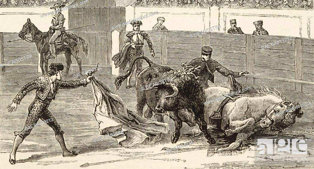Stock Photo: Sunday afternoon in the Bull ring at Madrid, Spain, illustration from the magazine The Graphic, volume XXIV, no 624, November 12, 1881.