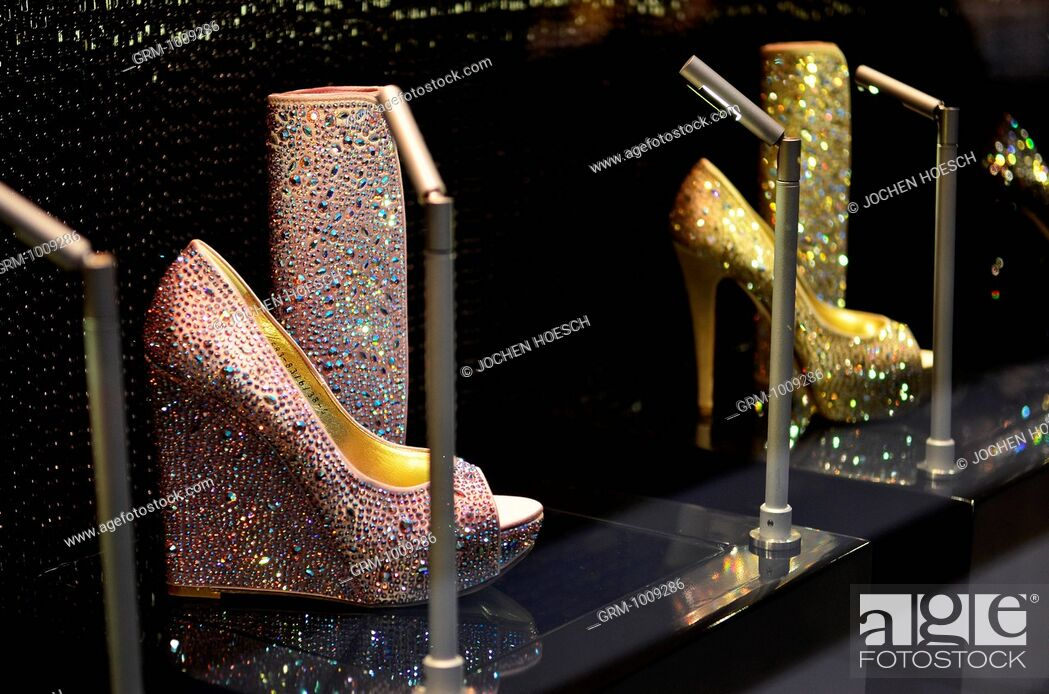 Stock Photo: Luxury Shoes on Display in Dubai Mall, UAE.