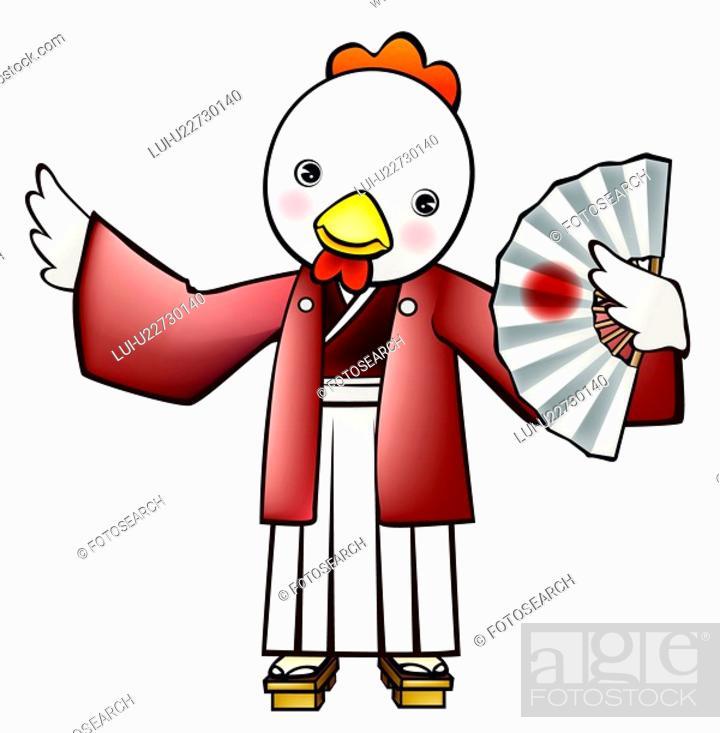 Stock Photo: pose, anthropomorphic, folding fan, holding fan, traditional japanese dress, posed, japan.