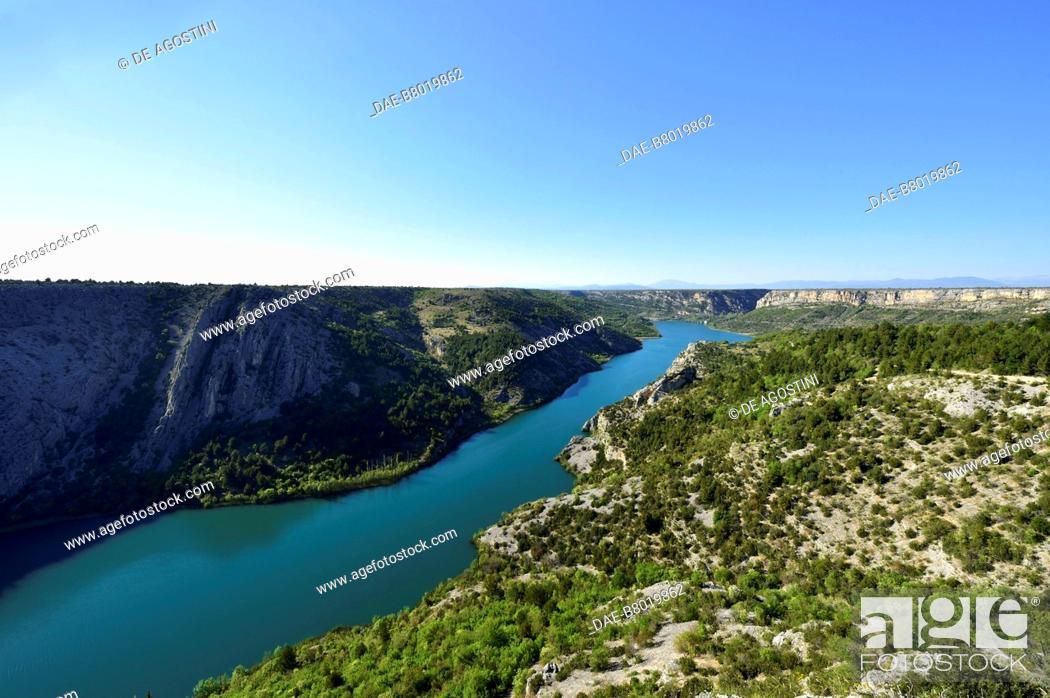 Stock Photo: The course of the Krka River near Roski Slap, Krka National Park, Croatia.