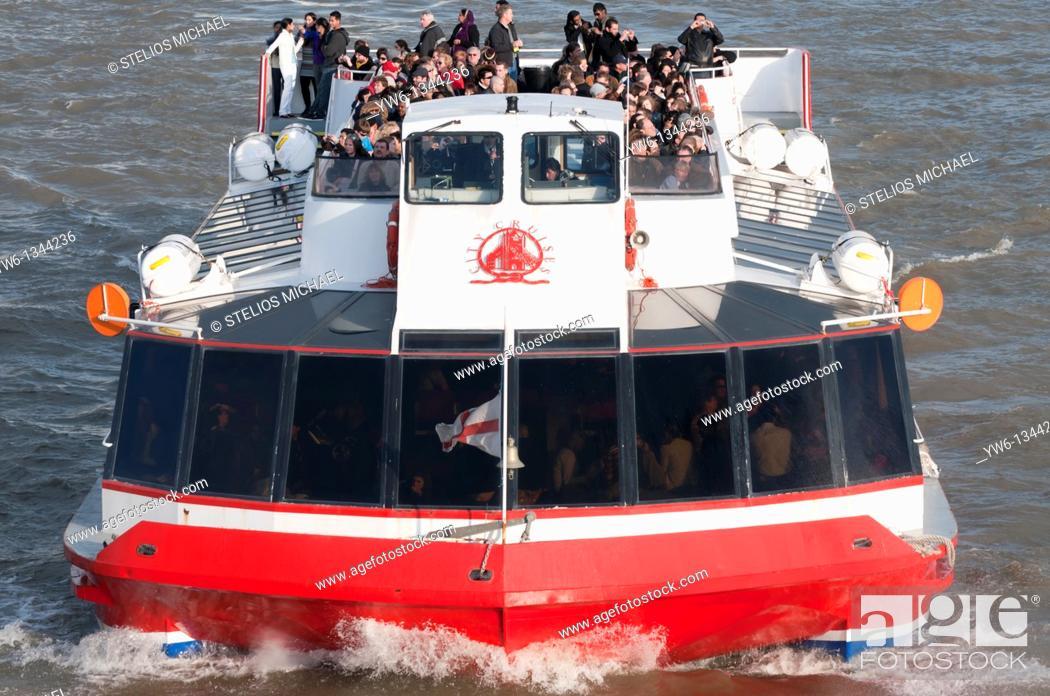Stock Photo: Tourist Boat Cruise along London's River Thames.