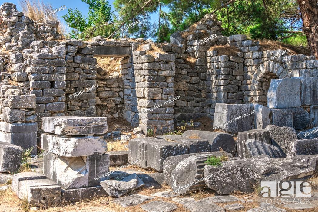 Stock Photo: Ruins of the Ancient greek city of Priene in Turkey on a sunny summer day.