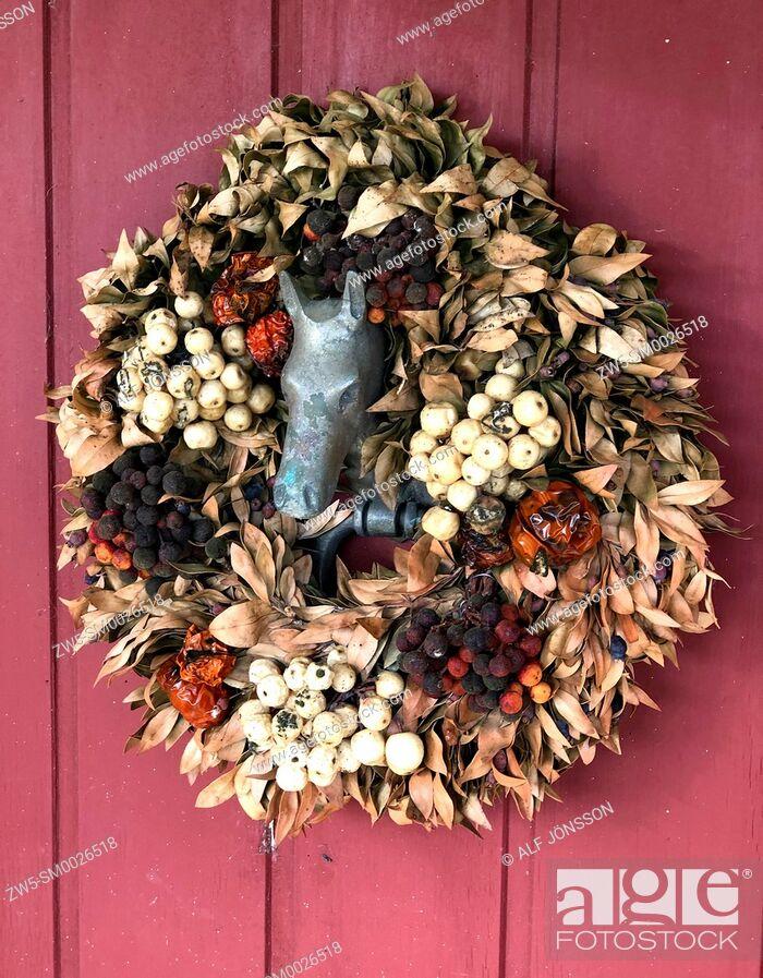 Photo de stock: Door decoration with horse head in Skurup, Scania, Sweden.