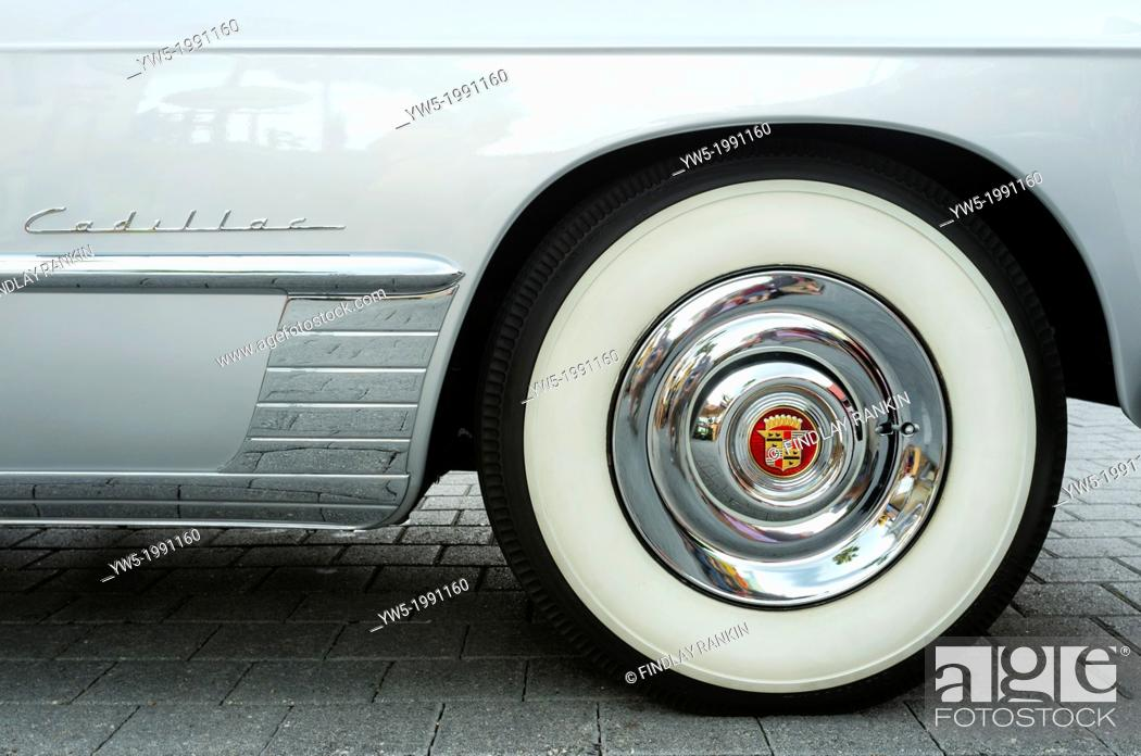 Stock Photo: Wheel detail of a 1948 Cadillac Series 62 convertable, American automobile.