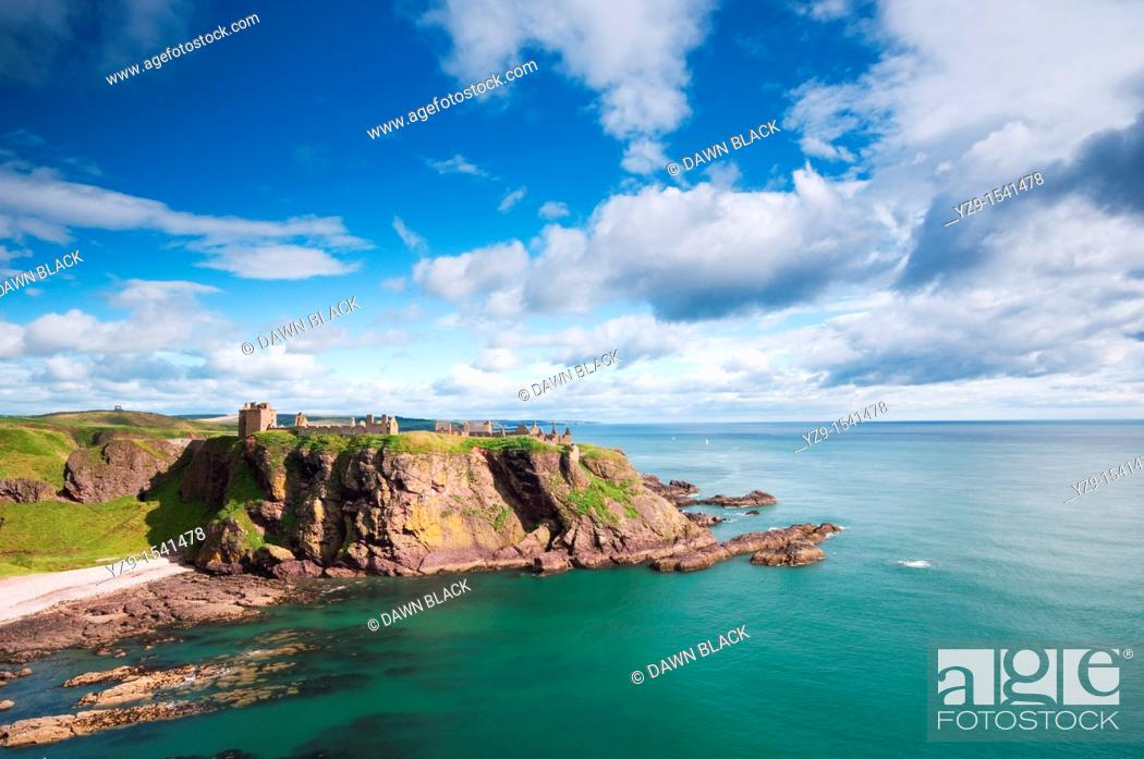 Stock Photo: Dunnottar Castle, Stonehaven, Aberdeenshire, Scotland  A medieval fortress located on a rocky outcrop 3 km south of Stonehaven  The site has held a fortress.