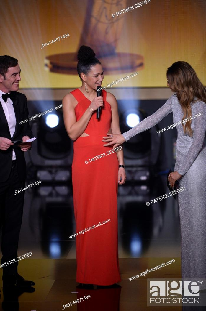 Presenter Of The Show Kate Abdo R Touches The Belly Of Pregnant Former Germany S Soccer Player Stock Photo Picture And Rights Managed Image Pic Pah 64971494 Agefotostock