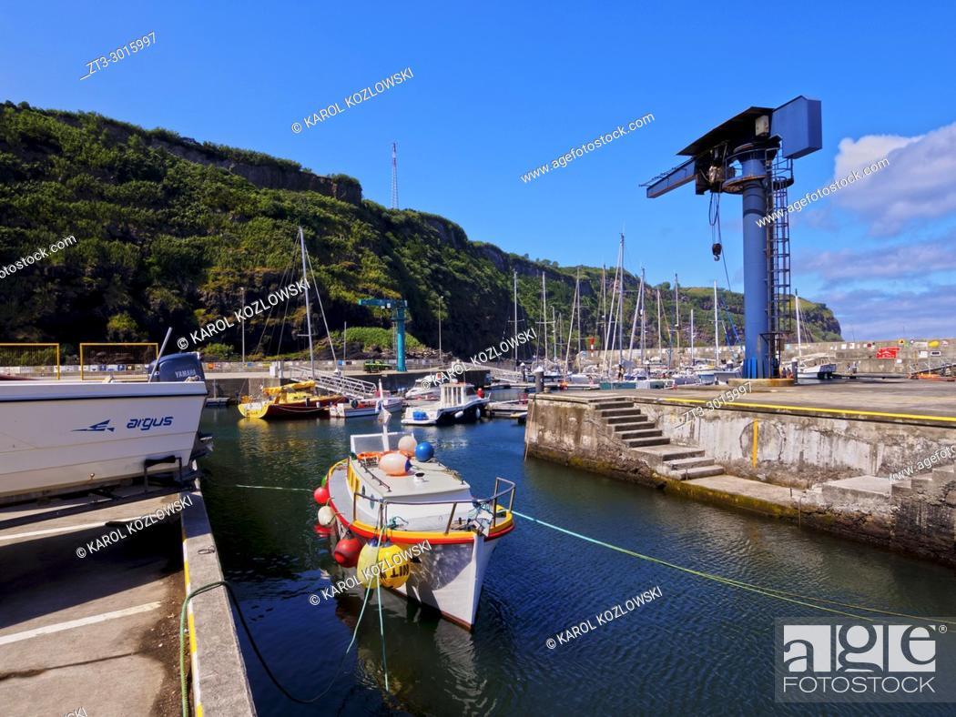 Stock Photo: Port in Lajes das Flores, Flores Island, Azores, Portugal.