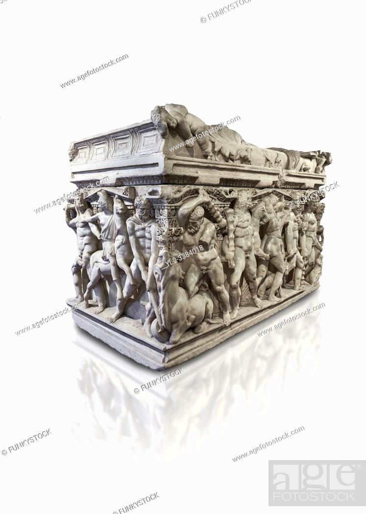 """Stock Photo: Roman relief sculpted Hercules sarcophagus with kline couch lid, """"""""Columned Sarcophagi of Asia Minors'style typical of Sidamara, 250-260 AD."""