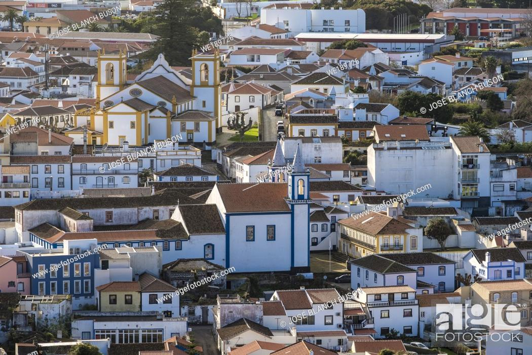 Stock Photo: The historic Praia da Vitória is one of the most interesting places on the island of Terceira and is one of the most modern cities in the Azores.