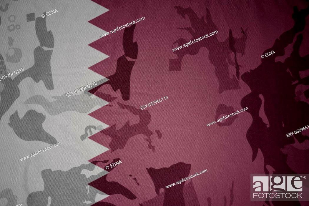 Stock Photo: flag of qatar on the khaki texture background. military concept.