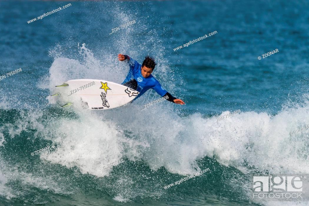 Stock Photo: PENICHE, PORTUGAL - OCTOBER 23, 2015: Keanu Asing (HAW) during the Moche Rip Curl Pro Portugal, Men's Samsung Galaxy Championship Tour #10.