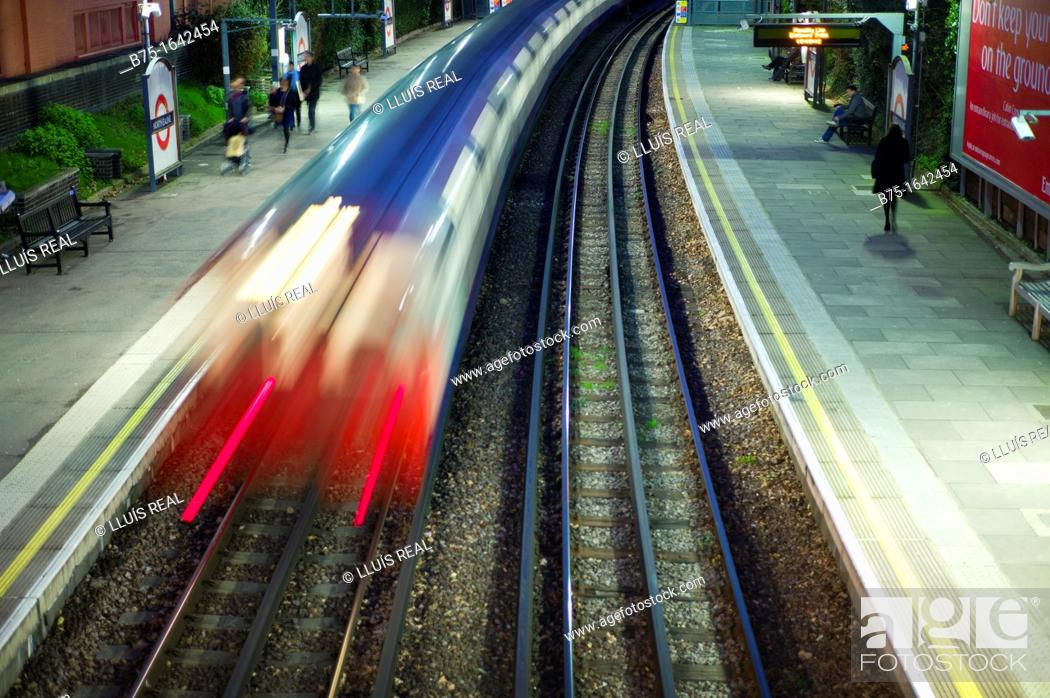 Stock Photo: Underground station, train station, North Ealing Station, Piccadilly Line, London, England, Uk.