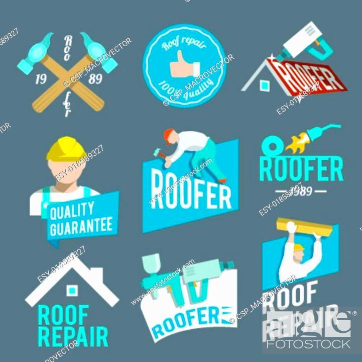 Stock Vector: Roofer label set.