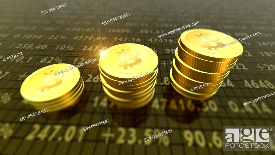 Stock Photo: Crypto-currency bitcoins finance and banking as concept.